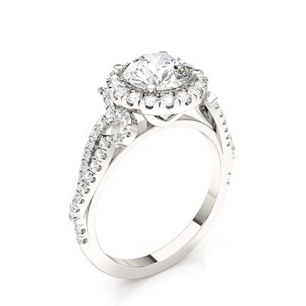 Diamant Halo Verlobungsring mit Zinkeneinstellung