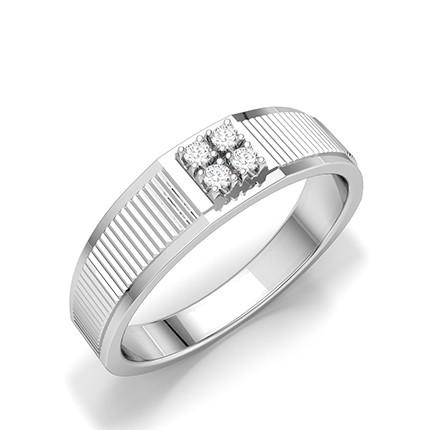 Herrenringe mit runden Diamanten in Stab- und Krappenfassung